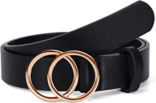 """Women Leather Belt, WERFORU Fashion Belt with Double O Ring Gold Buckle for Jeans Dresses (Suit for waist size 30""""-35"""",Black)"""