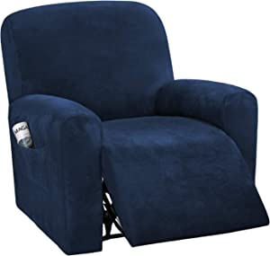 H.VERSAILTEX 4-Pieces Recliner Chair Covers Velvet Stretch Reclining Couch Covers for 1 Cushion Sofa Slipcovers Furniture Covers Form Fit Customized Style Thick Soft Washable(Small, Navy)