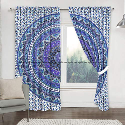 Juego de cortinas para ventana de cocina con estampado de mandala indio, juego de cortinas para dormitorio, decoración de habitación, estilo bohemio, hippie (multicolor)