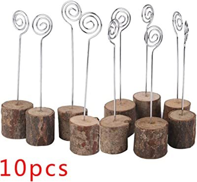 Wedding Photo Wooden Seat Clip Table Card Picture Holders Clip Wood Base Clip
