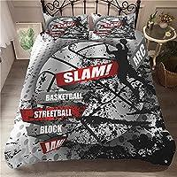 CHNSKIN 3ピースバスケットボールダブル寝具セット羽毛布団カバーセット3Dプリントフレーム落書きバスケットボールソフトマイクロファイバーキルトカバー、2つの枕カバー付き、Lq1,200X200Cm,Lq11,135X210Cm