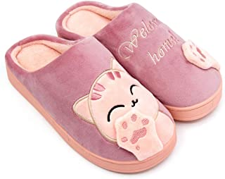 Women Warm Memory Foam Slippers Cartoon Cat House Shoes Mens Cotton Comfortable Plush Home Indoor Outdoor Bedroom