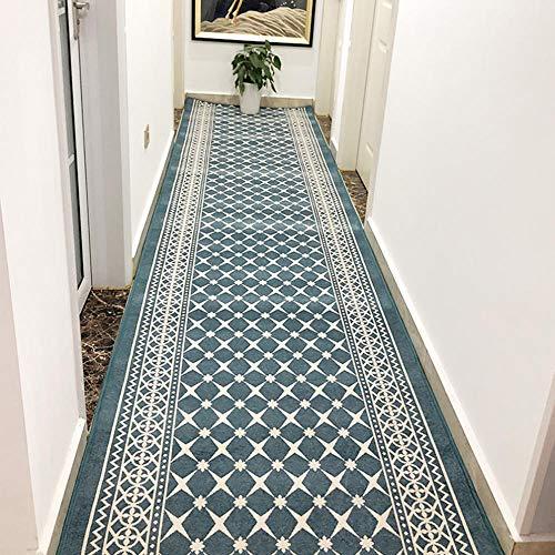 Passatoia Corridoio Cucina Salotto Le Scale del corridoio con Antiscivolo Sostegno Letto Piano Tappeto Passatoia Corridoio,Blu,Larghezza 0.6m X Lunghezza 5m