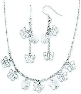 Sterling Silver Polished Crystal Butterfly Necklace and Dangle Earrings Set