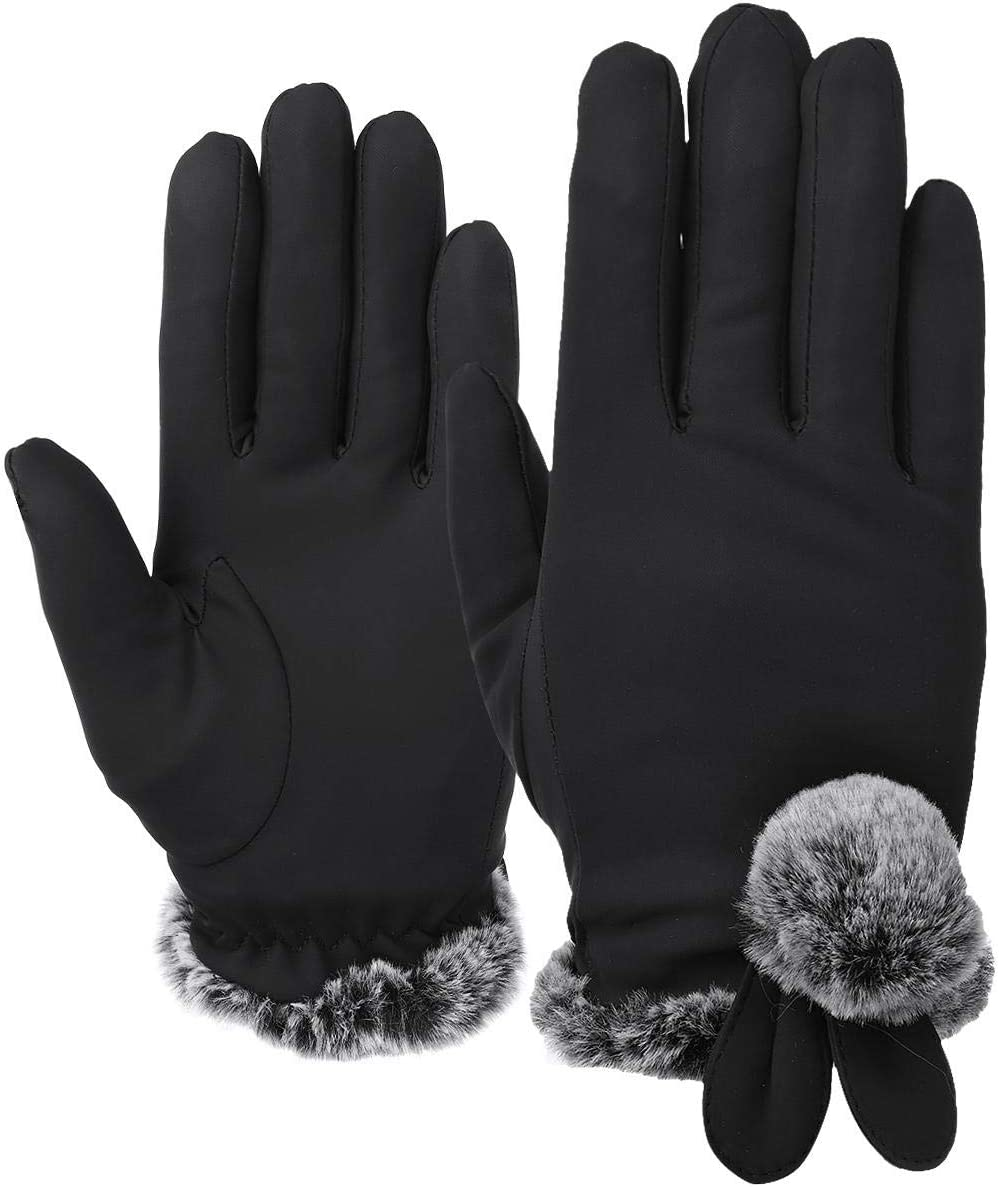 Lupovin-Keep Warm Ladies Winter Gloves Touch Screen Outside Sport Driving Raincoat Thermal Warm Gloves Non-Slip (Color : Black)