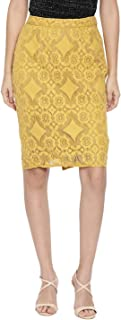 Chumbak Yellow Floral Laced Polyester Pencil Skirt