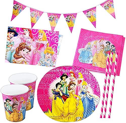 Vajilla Princesa, Princess Cumpleaños Vajilla, Party Supplies Vajilla Contiene Mantel, Banderín, Plato 8 personas Kit Mesa Fiesta Rosa, Vajilla de Fiesta TemÁTica de Disney