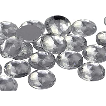 35mm clear round faceted glass jewel flat back