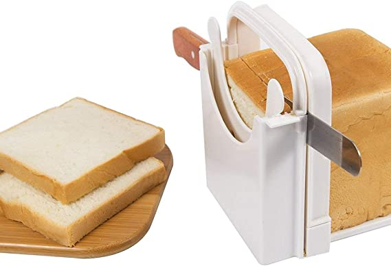Bread Cutter Guide - Bread Slicing Guide Adjustable Folding Bread Slicer Toast Slicer Toast Cutting Guide Handed Bread Machine Bread Maker for Homemade Bread Bagel Loaf Sandwich White
