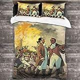 Juego de sábanas de DRAGON VINES 4 juego de sábanas tamaño king cama hamilton-and-burr-duel-dibujo azul sábana W90 xL90
