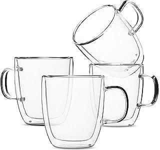 NIBEMINENT Set of 4 (12 oz, 350 ml), Coffee Mugs, Glass Tea Mugs, Double Wall Glass Coffee Cups, Tea Cups, Latte Cups, Gla...
