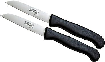 Schwertkrone 2er Messer-Set gerade Gemüsemesser scharf Küchenmesser Schälmesser Allzweckmesser rostfrei 3 Handabzug Dünnschliff - spülmaschinengeeignet 2, 3 - gerade