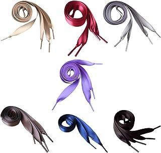 Happyyami 7 Pares de Cordones de Zapato de Cinta de Satén Cuerdas de Zapato Plano Y Ancho de Seda Cordones de Zapatos de Encaje de Colores para Mujeres Niñas Zapatillas de Deporte Botas