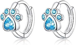 Pendientes de aro pequeños de plata de ley con diseño de huella de perro, con circonitas azules