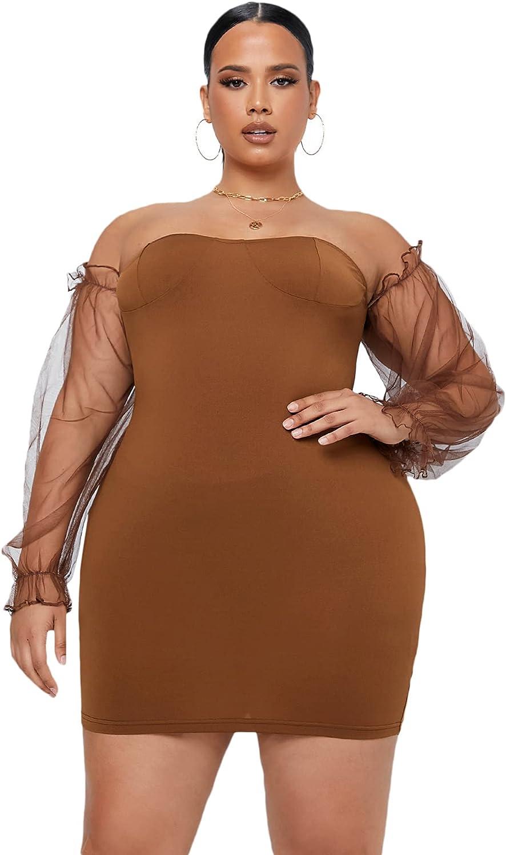 Romwe Women's Plus Size Off The Shoulder Mesh Long Sleeve Party Mini Bodycon Dress