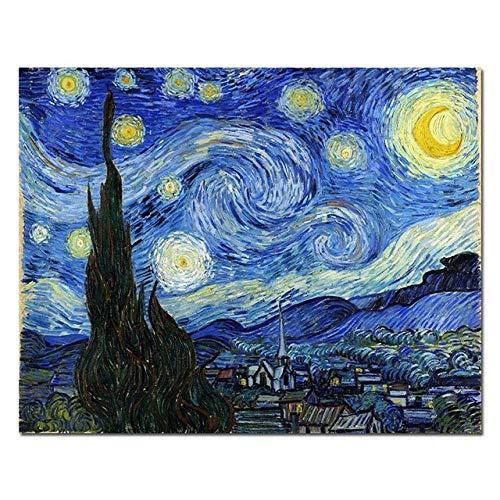 XCPINGYIDU Reproducción de Pintura al óleo impresionista de la Noche Estrellada de Van Gogh en Carteles de Lienzo e Impresiones Cuadro de Arte de Pared para Sala de Estar 60x90cm sin Marco