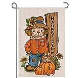 ANOVO Happy Fall Pumpkin Scarecrow Double Sided Burlap Garden Flags, Seasonal Thanksgiving Outside Porch Patio Farmhouse Yard Outdoor Decorative 12 x 18 Inch