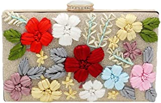 Pusaman Ms. Embroidery Fashion Handbags, Evening Bags Embroidery (Color : Gold, Size : 20 * 4 * 12)