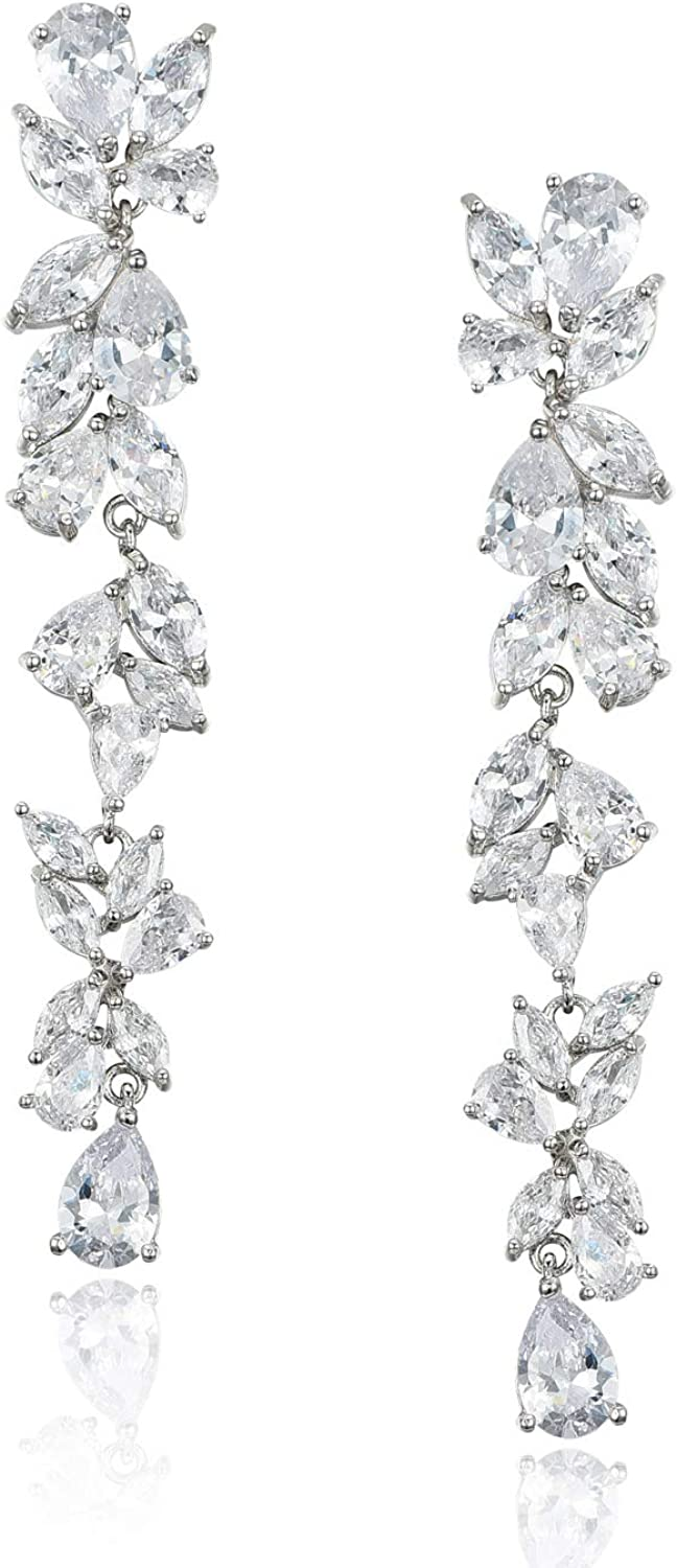 SWEETV Cubic Zirconia Bridal Earrings Women for Crystal 2021 spring and summer new Now free shipping Brides