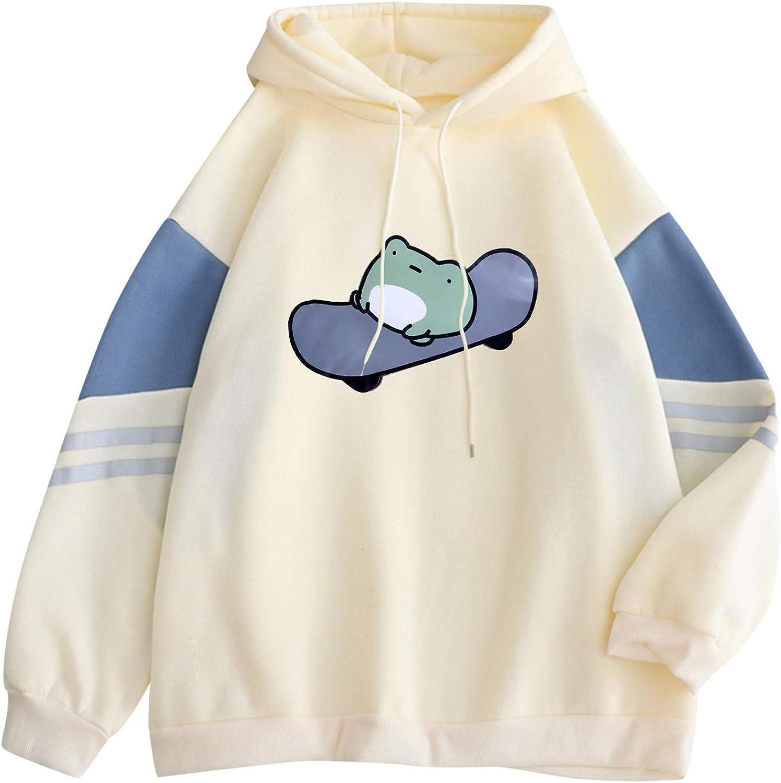 Womens Hoodies, Women Girls Fashion Print Long Sleeve Crop Top Hoodie Sweatshirt Casual Loose Pullover Tops