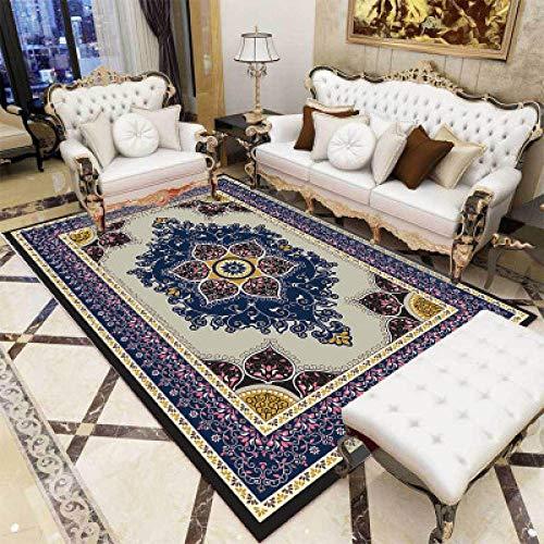 nobrand Home Alfombra Diseño Moderna Alfombra Flor Europea clásica-160 * 230 CM,para Sala, comedór Dormitorio alfombras, fácil de Limpiar