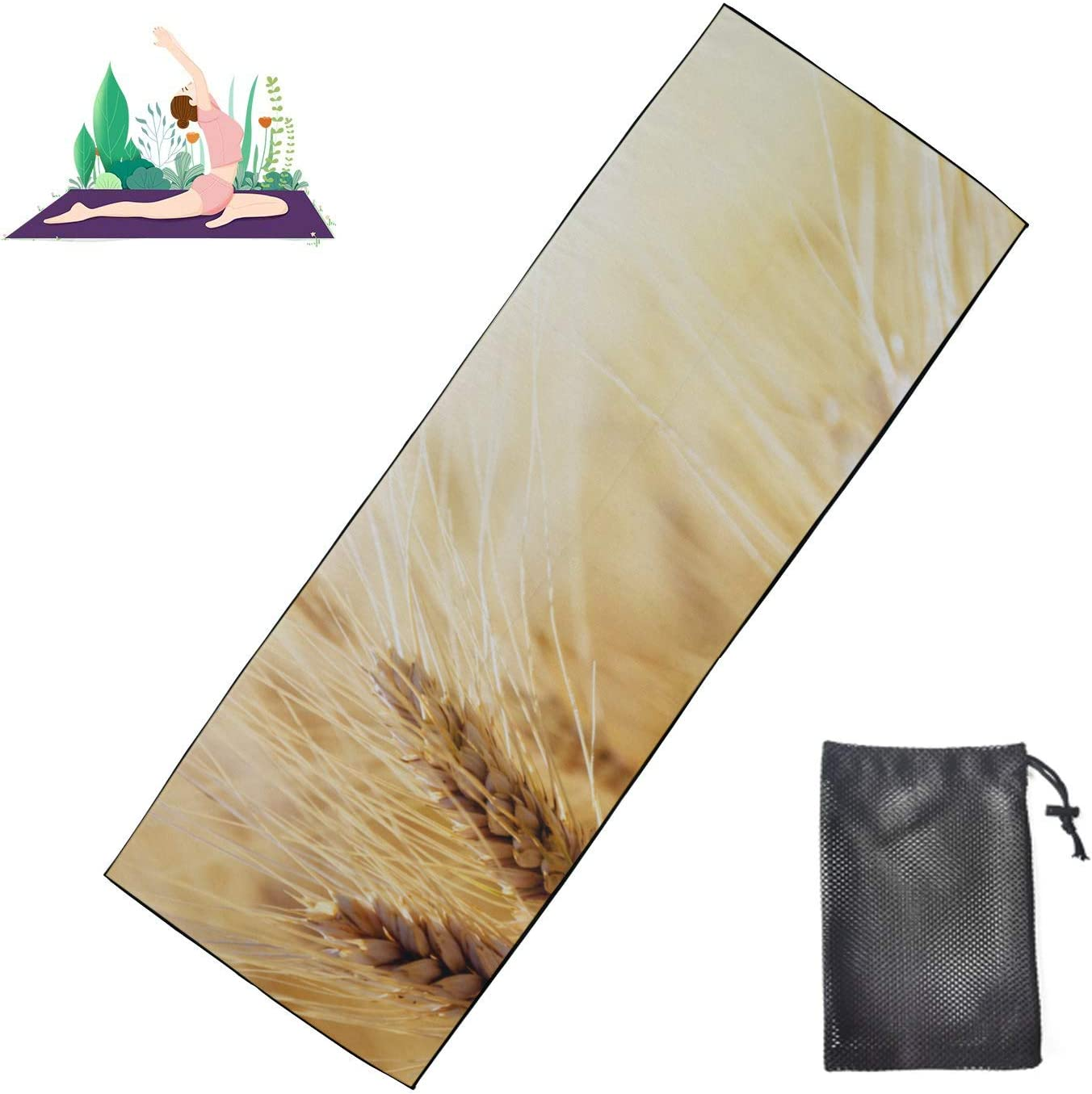 Huqalh Unique Max 74% OFF Yoga Finally resale start Mats Golden Field Peaceful Tow Hot Wheat