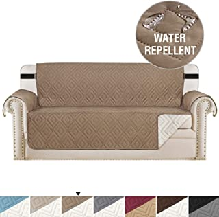 H.VERSAILTEX Reversible Sofa Slipcover Furniture Protector Anti-Slip Couch Cover Water Resistant 2 Inch Wide Elastic Straps Sofa Cover Couch Covers for Pets Kids (Sofa Large, Taupe/Beige)