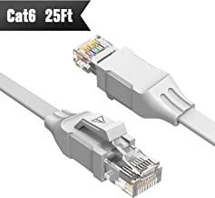 Cat 6 Ethernet Cable (at a Cat5e Price but Higher Bandwidth) Flat Internet Network Cable - Cat6 Ethernet Patch Cable Short - Computer LAN Cable with Snagless RJ45 Connectors Support 1Gbps 250Mhz white New 25ft White 25ft white
