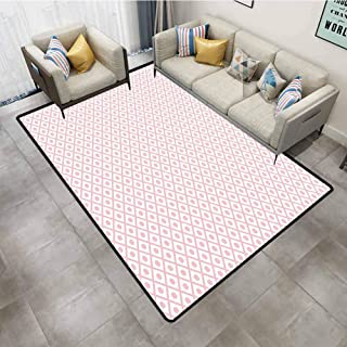 Kitchen Rugs and mats Retro Pastel Squares with Polka Dots Geometrical Symmetrical Checked Tile Pattern Baby Pink White Room Carpet 6'x9'