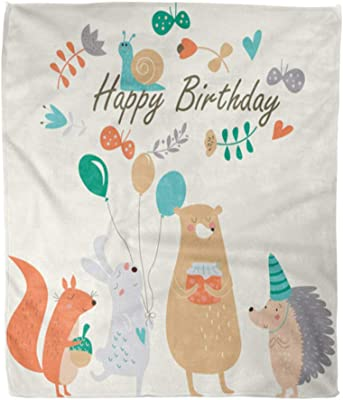 Emvency Throw Blanket Warm Cozy Print Flannel Birthday Cute Squirrel Bunny Bear Hedgehog Snail Balloons Butterflies Comfortable Soft for Bed Sofa and Couch 50x60 Inches