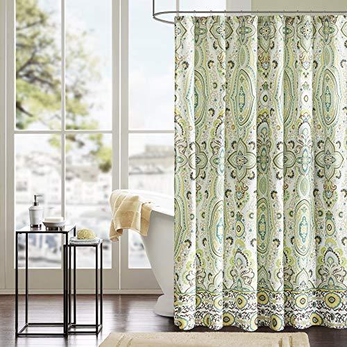 Intelligent Design Printed Cute Youth Bathroom Shower Curtain Mildew Resistant Quick Dry Modern Looking Bath-Curtain, 72x72, Tasia Green (ID70-284)