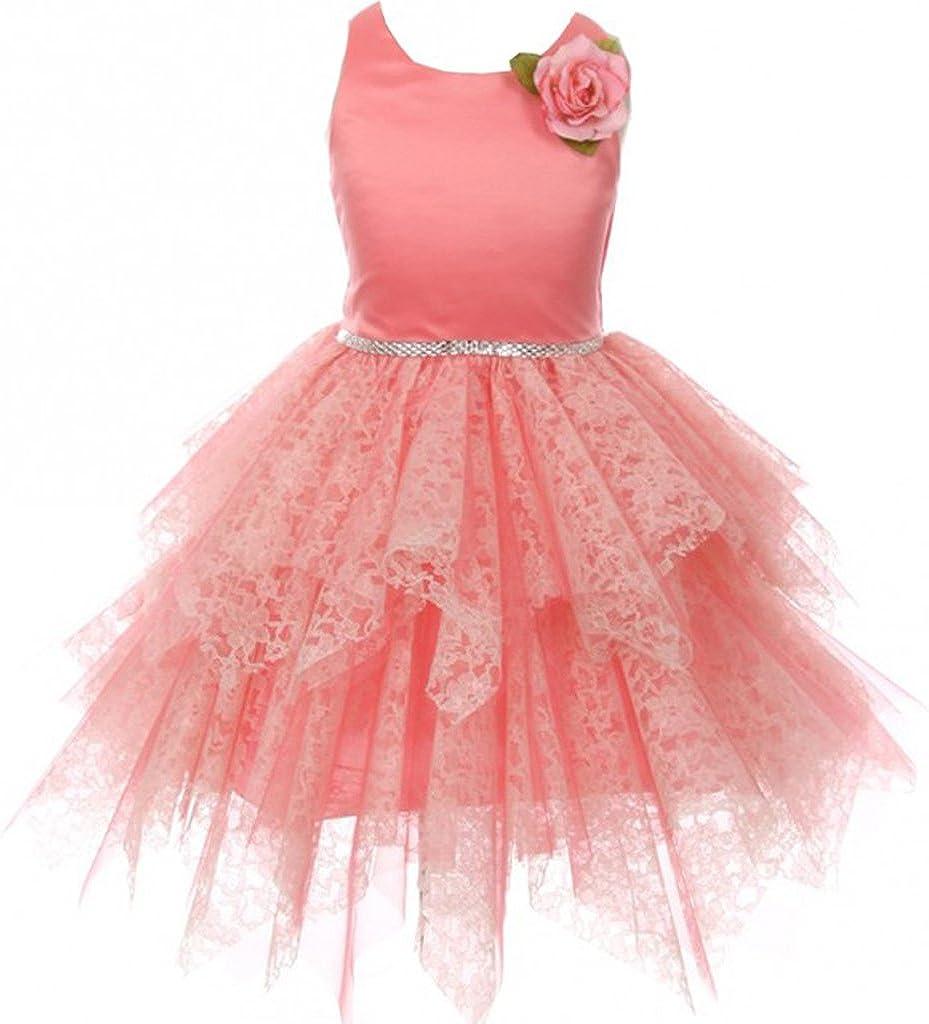 BNY Corner Flower Girl Dress Popular popular Satin Bodice Tul Cut Lozenge Super intense SALE Tiered