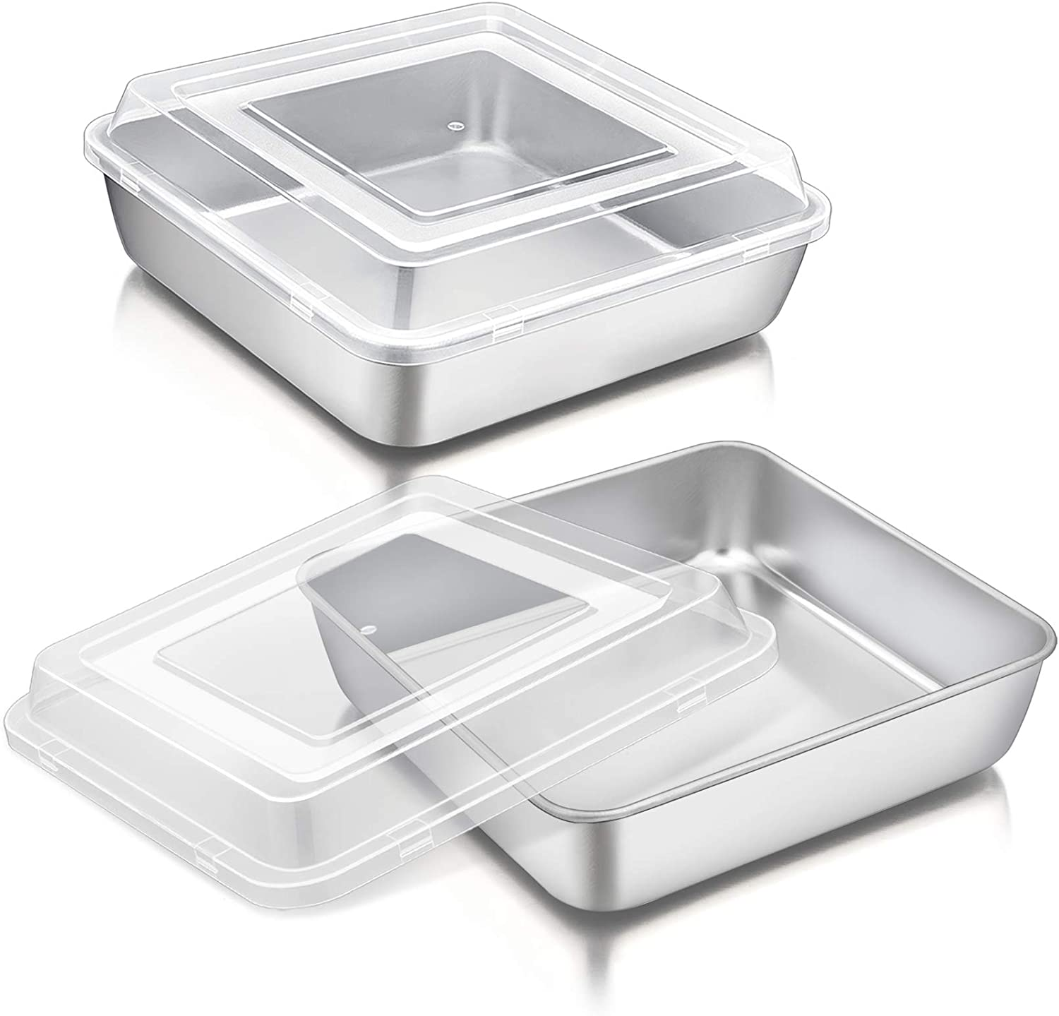 8 Inch Square Cake Pan with Lid, P&P CHEF Stainless Steel Baking Pans and Lids, For Lasagna Brownie Cake, Heavy Duty & Food Grade, Durable Pans & Plastic Covers, Oven & Dishwasher Safe (2 Pans+2 Lids)