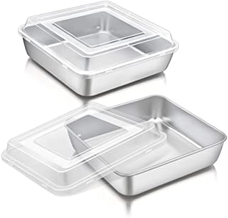 8 Inch Square Cake Pan with Lid, P&P CHEF Stainless Steel Baking Pans and Lids, For Lasagna Brownie Cake, Heavy Duty & Foo...