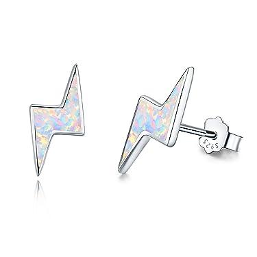 Cuoka Opal Earrings Lightning Bolt Earrings 925 Sterling Silver Small Stud Earrings Hypoallergenic Thunder Earrings Flash Studs for Women
