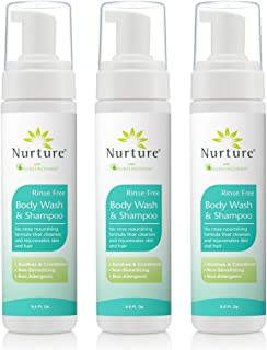 No Rinse Body Wash & Shampoo by Nurture | Hospital Grade Full Hair & Body Cleansing Foam with Aloe Vera - Non Allergenic -...