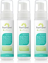 No Rinse Body Wash & Shampoo by Nurture | Hospital Grade Full Hair & Body Cleansing Foam with Aloe Vera - Non Allergenic - Non Sensitizing - Rinse Free Wipe Away Foaming Cleanser - 3 Bottles