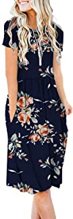 AUSELILY Women's Short Sleeve Pockets Empire Waist Pleated Loose Swing Casual Flare Dress