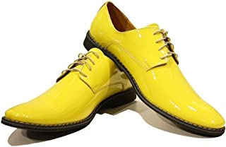 Modello Pio - Handmade Italian Mens Color Yellow Oxfords Dress Shoes - Cowhide Patent Leather - Lace-Up