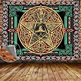 DBLLF Wiccan Pentagram Pagan Tapestry Psychedelic Mandala Hippie Goddess Tapestries, Large Size 80'x 60' Flannel Art Tapestries for Living Room Bedroom Dorm GTYYDB531