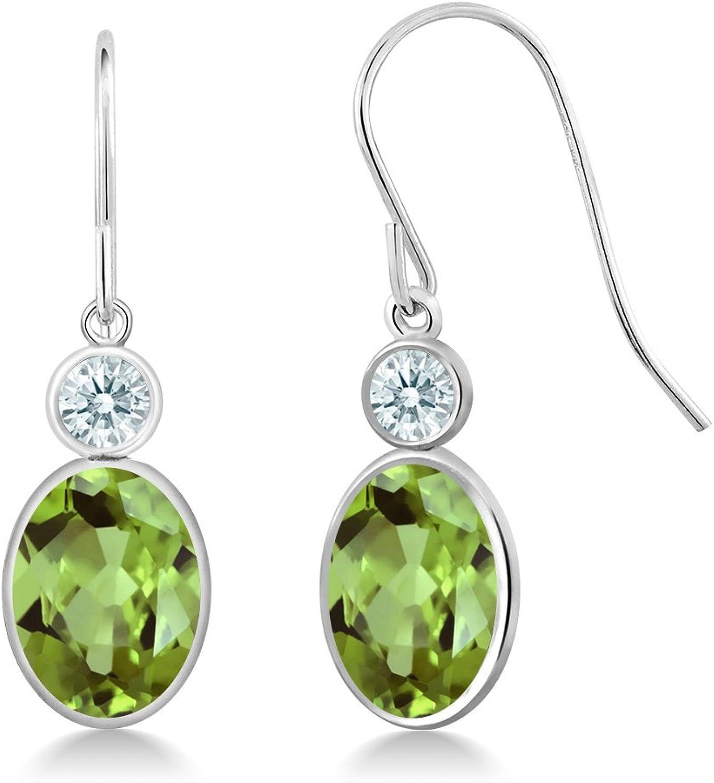 2.88 Ct Green 14K White gold Earrings Made With Swarovski Zirconia