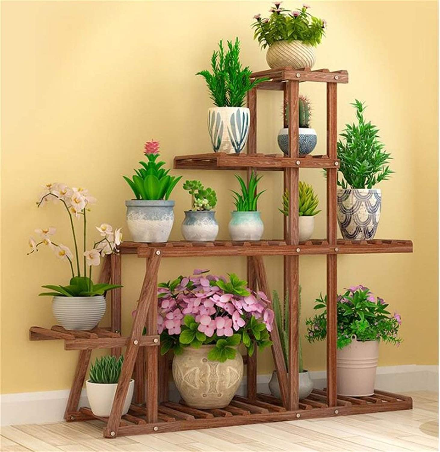 Multi-Layer Solid Wood Plant Display Stand, Potted Decorative Frame, Outdoor Garden Indoor Living Room Bedroom Balcony (color    2)