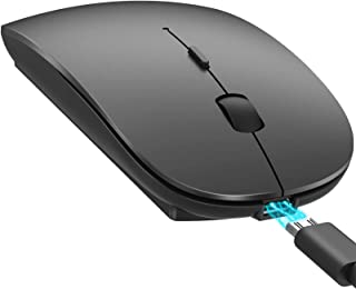 YOMYM Wireless Bluetooth Mouse, 2.4GHz Wireless Optical Mouse with 2400 dpi for PC, Laptop, Mac, Windows, Black