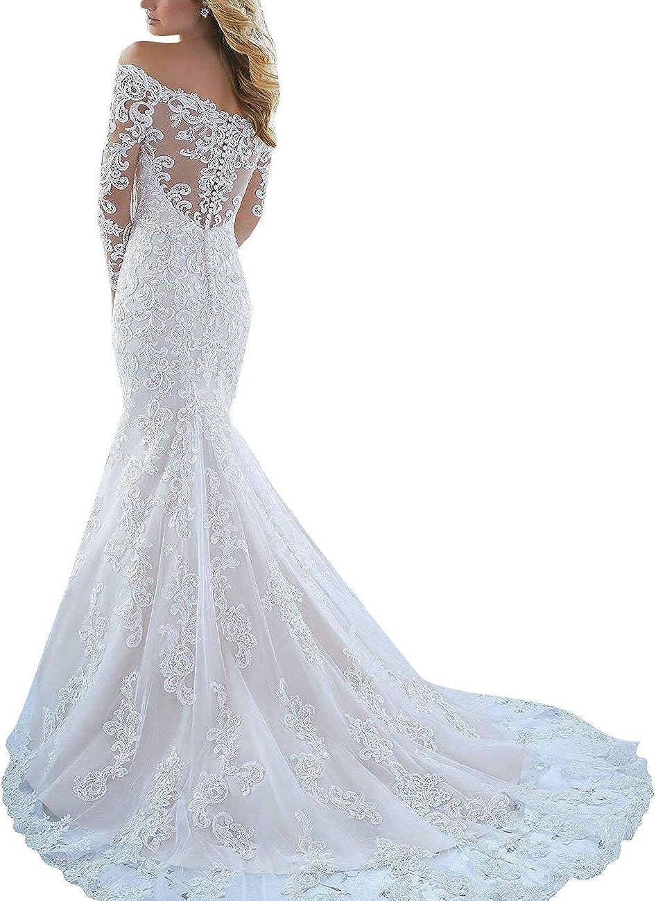 VKStar® Robe Epaules Dénudées Dentelle Soirée Robe de Mariée Princesse Manches Longues Robe Mariage Sirène Femme Longue Ivoire