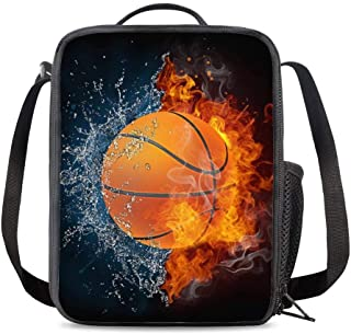 KiuLoam Abstract Basketball Kids Small Lunch Box Children's Insulated Lunch Bag with Zipper Shoulder Strap Cooler Lunch To...