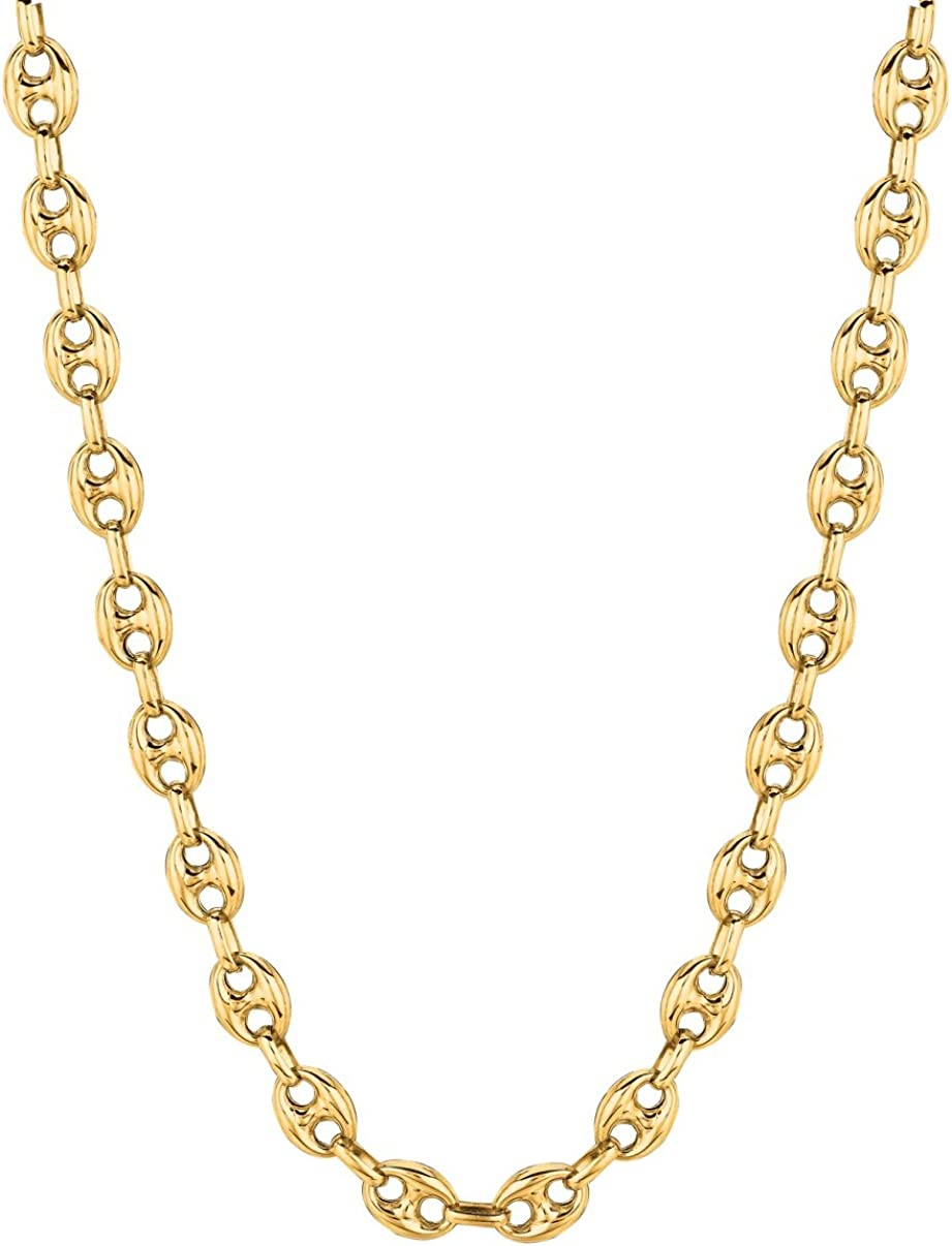 14K Yellow Gold Puffed Anchor Mariner Link Necklace 18