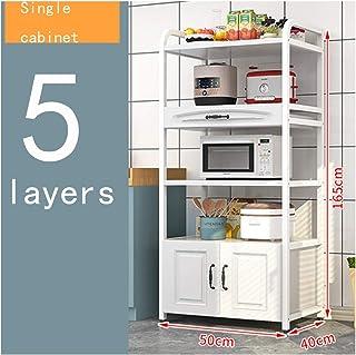 KOKOF Support De Rangement De Cuisine Plancher Européen Multicouche avec Porte D'armoire Support De Rangement Multifonctio...