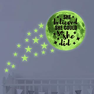 She Believed She Could So She Did Glow in Dark Stars & Moon Ceiling Wall Decals,Kid/Child/Baby Inspirational Room Decor and Party Birthday Gift