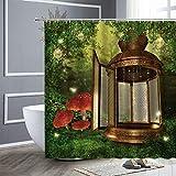 XCBN Fantasie Wald Duschvorhang Cartoon Vogel Schmetterling Eule Grün Pflanzenlandschaft wasserdichte Duschvorhang Dekoration A13 120x180cm