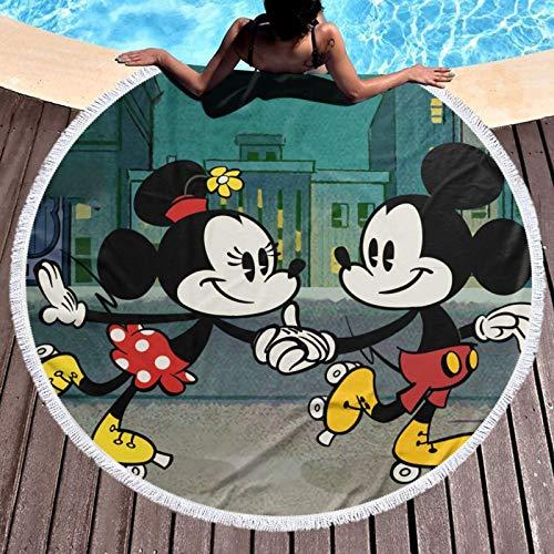Mic-Key M-Ouse schnelle trockene Strandtuchreisen Mikrofaser Badetuch Decke Super Absorbent Leichtes Handtuch für Strandpool Schwimmen Wandern und Heimgebrauch Übergroße Rund 150cm